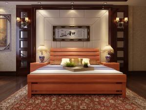 新中式实木板材家具床