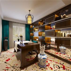 中式书房装修效果图窗帘搭