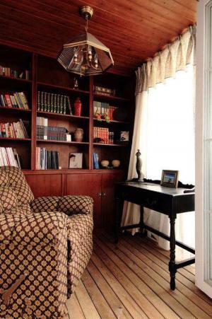 美式经典书房布置效果图