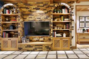 石砖电视书柜一体效果图