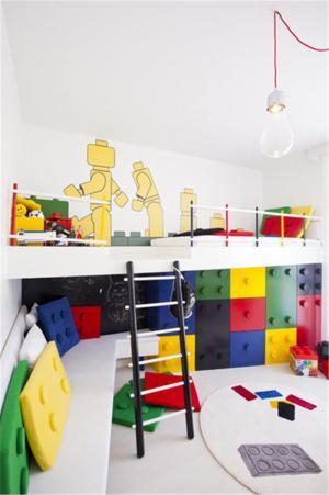 多彩儿童床书桌