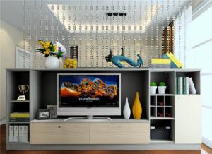 电视书柜一体效果图设计
