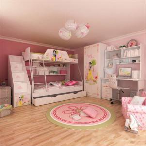 公主风儿童床书桌