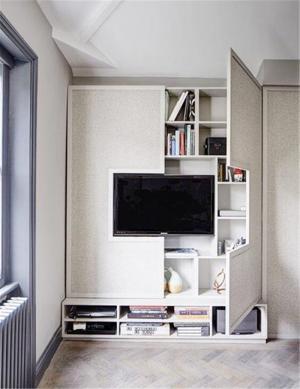 封闭式电视书柜一体效果图