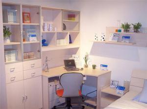 白色转角卧室书柜
