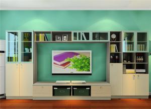 现代电视书柜一体效果图