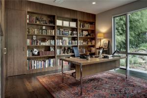 复古书桌书柜组合效果图