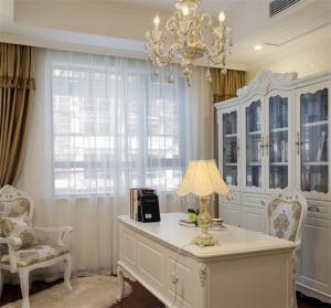 象牙白欧式书桌书柜组合