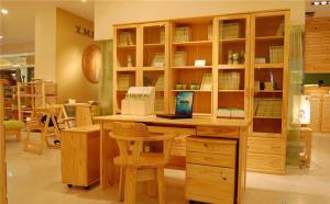 原木色中式书柜