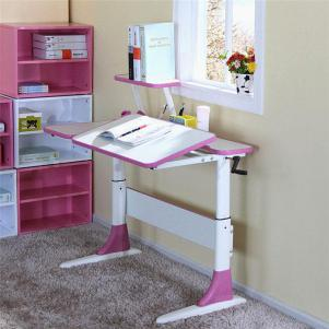 粉色甜美可升降学习桌
