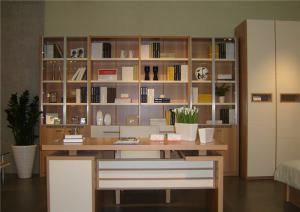 宜家素净书桌书柜组合效果图