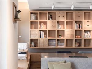 实木客厅书柜墙