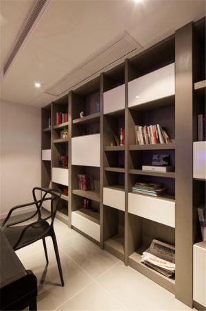 现代黑白客厅书柜墙