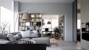 简洁大方客厅书柜墙