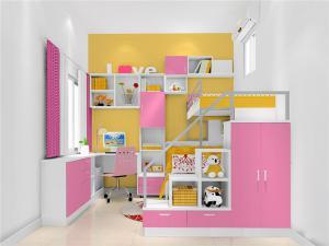 粉色儿童转角书桌