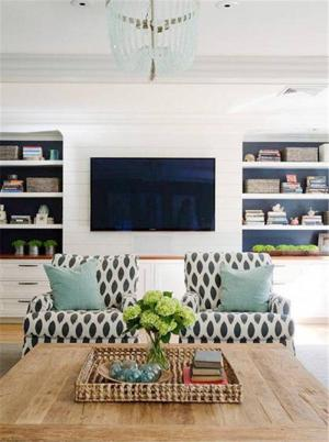 温馨的电视书柜一体效果图