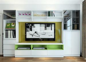精致电视书柜一体效果图