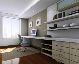 质感书桌书柜组合效果图