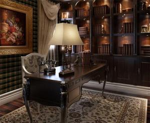 古典欧式书桌书柜组合
