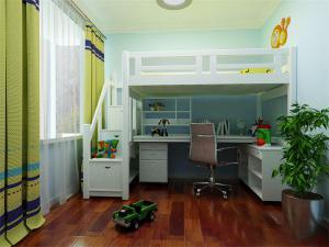 复古儿童床书桌