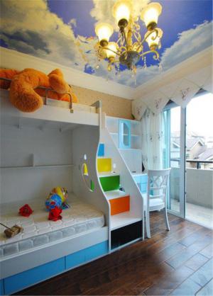 蓝色儿童床书桌