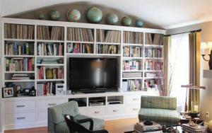 欧式电视书柜一体效果图