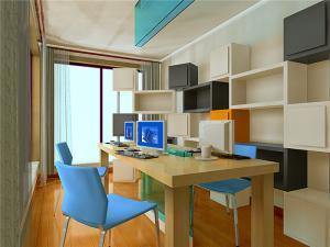 家用书桌书柜组合效果图