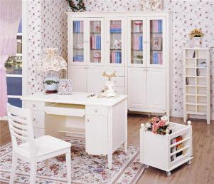 欧式书柜书桌组合