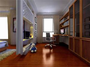 新中式书桌书柜组合效果图