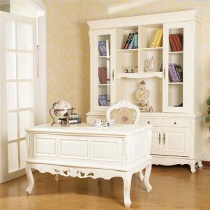 欧式书桌书柜组合实拍图