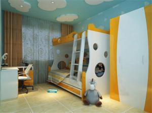 现代活力儿童房双层床效果图