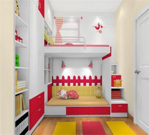 女孩儿童房双层床效果图