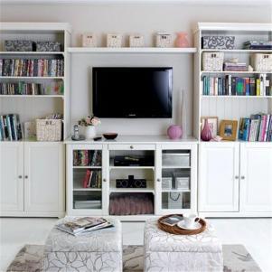 小户型客厅书柜电视墙