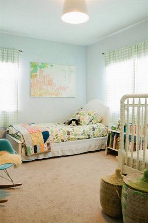 小清新儿童房背景墙