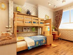 简装儿童房双层床效果图