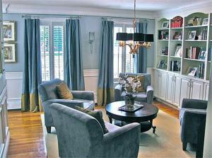 美式小户型客厅书柜