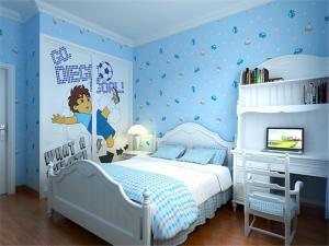 蓝色美式儿童房