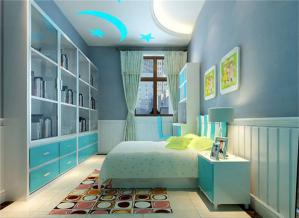 蓝色儿童房家具