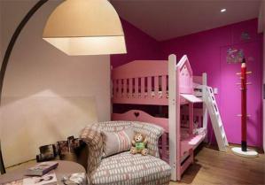 粉色儿童房设计上下床