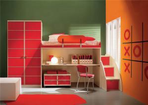 儿童房设计上下床书桌组合
