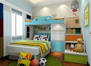 儿童房上下床带衣柜