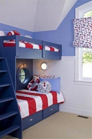 海洋风两个孩子儿童房设计