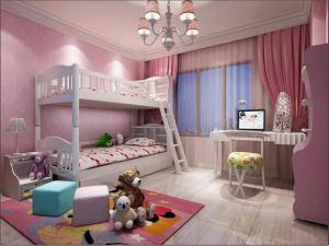 女孩儿童房设计上下床