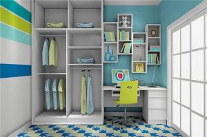 现代简约卧室转角书桌加衣柜
