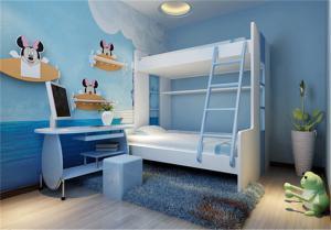 温馨儿童房双层床效果图