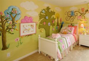 手绘背景墙儿童房装修实例