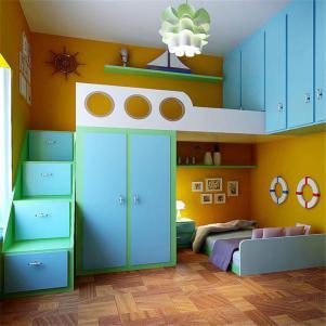 果绿色儿童房双层床效果图