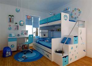 哆啦a梦儿童房双层床效果图