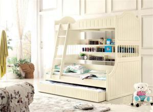白色儿童房双层床效果图