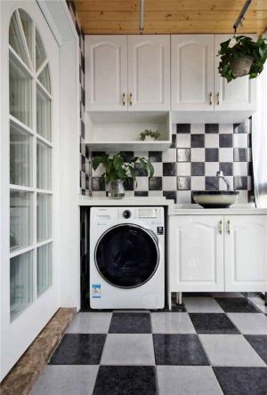 黑白色调洗衣机放阳台效果图